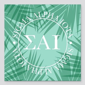 "Sigma Alpha Iota Leaves Square Car Magnet 3"" x 3"""